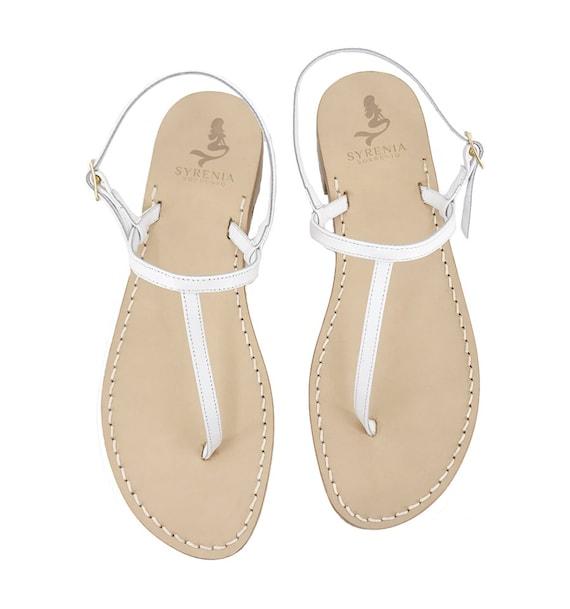 White Leather Capri Sandals Flat Sandals Handmade in Italy