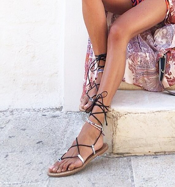 Silver Leather And Gladiators Made Black Sandals Italy In BorWCexd