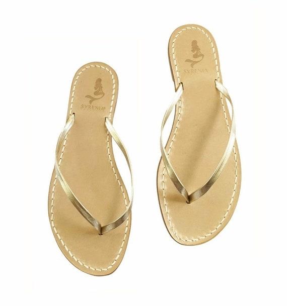 Gold Bikini Leather Capri Sandals Flat Sandals Handmade in Italy
