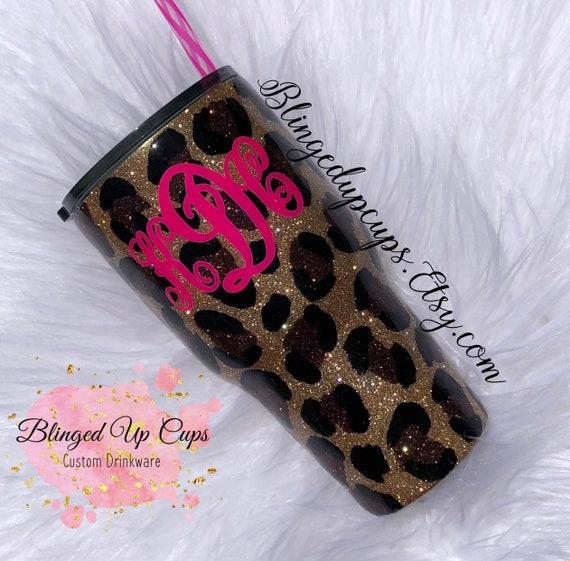 Customized tumblers Best friends Marble tumbler Friendship gifts Leopard glitter cup glitter tumbler glittered tumbler