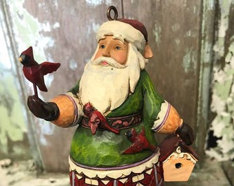 Jim Shore Santa with Cardinals and Birdhouse Hanging Ornament