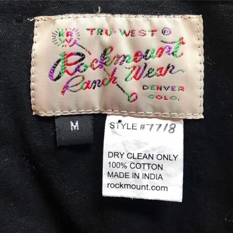 80s Rockmount western shirt floral chainstitch design black red green