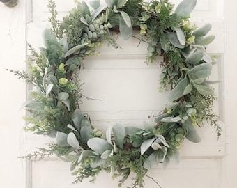 winter eucalyptus wreath holiday wreath lambs ear eucalyptus wreath christmas wreath farmhouse wreath frosted eucalyptus wreath