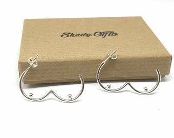 Sterling Silver Boob Stud Earrings