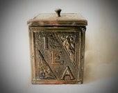 Victorian Hammered Brass Tea Caddy