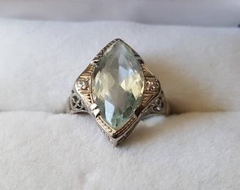 Antique 18K White Gold Aquamarine Ring