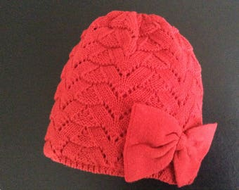 Girls Bonnet with adorable bow, knitted in cherry red cotton yarn     fashionable beanie with bow    adorable and lined bonnet 5444a25d7d2