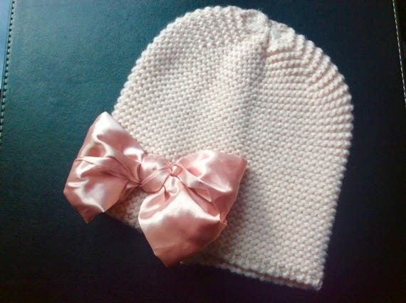 Girls knitted Cotton Bonnet with Silk Bow    Fashionable   Etsy 3cc36ae20dd