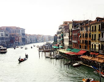 Grand Canal, Venice, Italy - Original hand water colored photograph by Fine Artist Pamela Fall