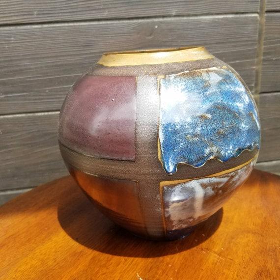 Large Windowpane Spherical Vase Etsy