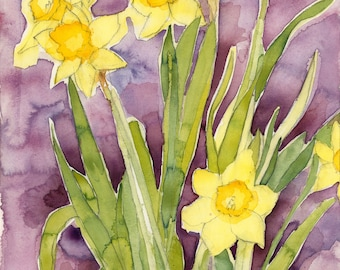 """Watercolor Painting - Handmade, Art print, Wall decor, Home decor, Gift for her, Watercolor print, """"Daffodils,"""""""