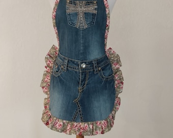 Upcycled Denim Apron with Front Pocket