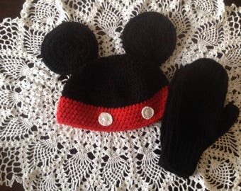 Mickey Mouse Hat w/ Mittens
