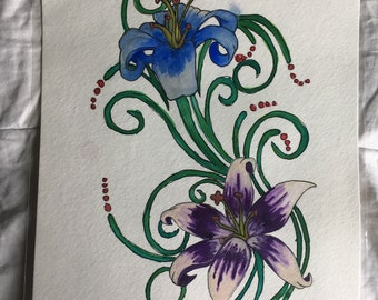 Watercolor painting of two Lilies