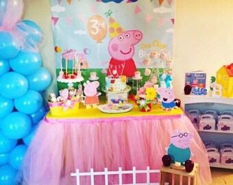 Peppa pig Birthday | Peppa Pig Backdrop | Peppa pig Banner | Personalized