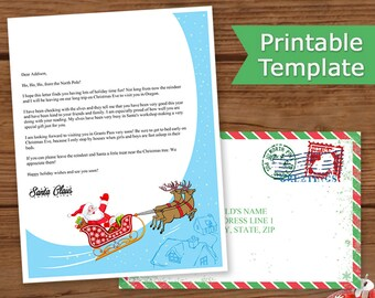 Letter From Santa Printable, Letter From Santa Claus, Santa Letter with Envelope, Editable Template PDF, INSTANT DOWNLOAD, Santa's Sleigh
