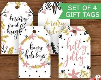 Modern Printable Christmas Gift Tags, Holiday Gift Tags, Merry Christmas Tags, Happy Holidays Tags, Printable Tags, Set of Four Tags