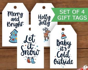 Printable Christmas Gift Tags, Holiday Gift Tags, Holiday Tags, Xmas Tags, Happy Holidays Tag, Christmas Tags, Festive Set of Four Tags