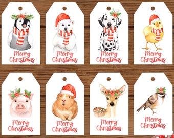 Cute Animal Printable Christmas Gift Tags, Penguin, Polar Bear, Dog, Chick, Pig, Deer, Bird, Guinea Pig, Printable Gift Tags, Set of 8