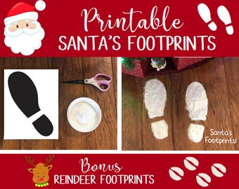 Santa Footprint, Reindeer Footprint, Santa Boots, Santa Foot Print, Santa Footprints Stencil, Reindeer Hoof Print, Reindeer Prints Printable