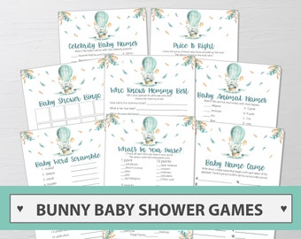 Bunny Baby Shower Games Package - 8 Printable Games Bundle - Bunny Baby Shower Game Printable - Bunny Printables - Instant Download 212