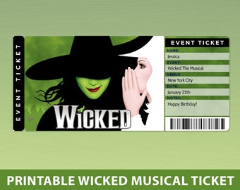 Wicked Musical Surprise Reveal Tickets, Printable Surprise Wicked Musical Gift Ticket Template, Editable Ticket