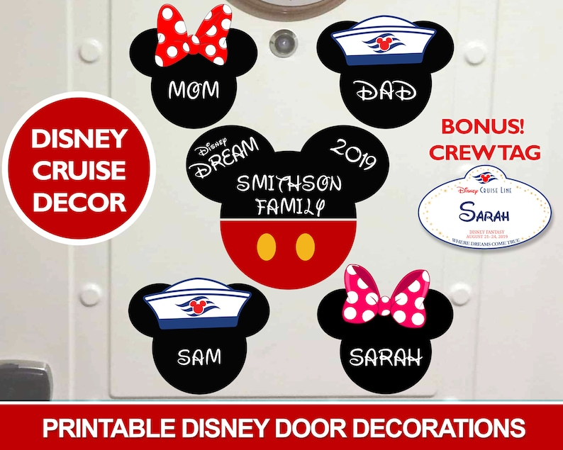 picture relating to Disney Cruise Door Decorations Printable named Printable Disney Cruise Doorway Decorations, Do it yourself Editable, Print at House, Cruise Cabin Doorway Decor, Incorporate Your Personalized Magnets, Mickey Minnie