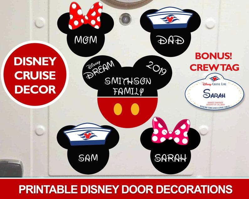 photograph relating to Disney Cruise Door Decorations Printable called Printable Disney Cruise Doorway Decorations, Do-it-yourself Editable, Print at House, Cruise Cabin Doorway Decor, Insert Your Personal Magnets, Mickey Minnie