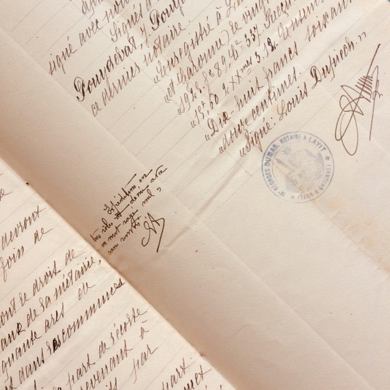 Vintage french document, handwritten, dated Avril 1822, paper, stained with age