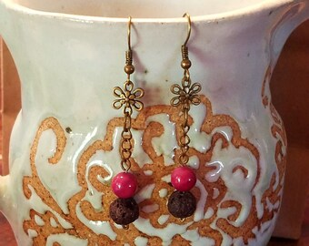 Lava and Agate with Antiqued Brass Chain Earrings