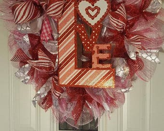 Pink and Red sparkly Valentine Wreath