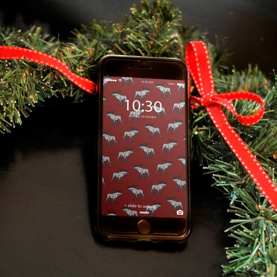 Fun Holiday Moose Background Lock Screen Wallpaper For Etsy