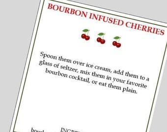 Bourbon Infused Cherries, Bourbon Cherries, Infused Cherries, Bourbon Cherries Label, Infused Cherries Label