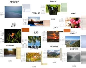 2021 Calendar Printable, Digital Download Calendar, Wall Calendar 2021, Desk Calendar Monthly, Digital Calendar 2021