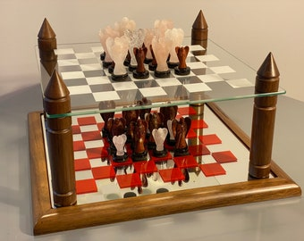 Andegemon Luxury, Abstract Combinatorial Strategy Game, Wood, Glass, Gems, Chess Art, Christmas Gift, Chessboard, Decoration, Design, Chess board