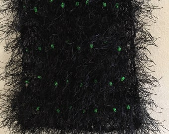 Hand knitted scarf with soft little beads