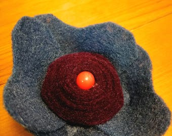 Blue and Red flower barrette
