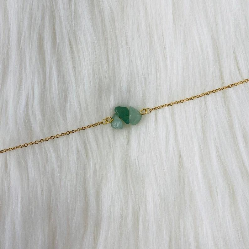 Gold Chain Green Aventurine Choker Necklace