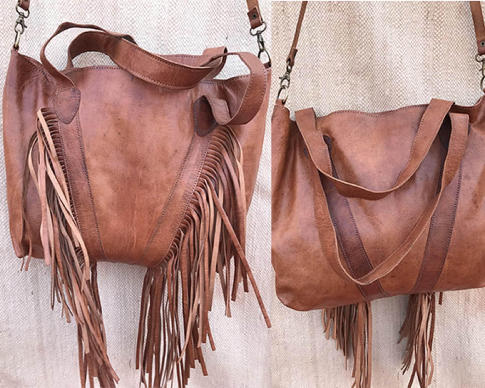 New Fringe purse , bridesmaid Leather bag , Leather Hobo Purse, Leather Tote Bag, Western Gypsy bag, Genuine Leather Handbag Wedding gift