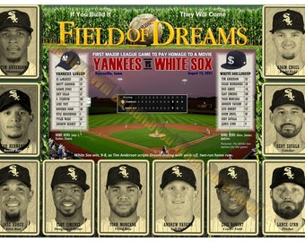 """White Sox Field of Dreams Official Game Lineup 19""""x13"""" Commemorative Poster"""