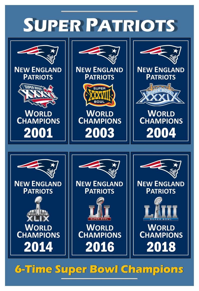 2e922cf3 Patriots 6-Time Super Bowl Champion Banners 13