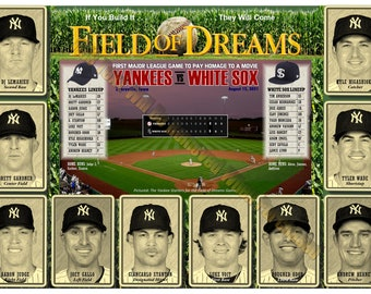 """Yankees Field of Dreams Official Game Lineup 19""""x13"""" Commemorative Poster"""