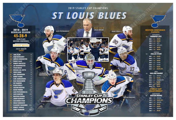 Louis Blues Win the 2019 Stanley Cup 19x13 Commemorative Poster St