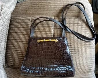 59437e5985 Italian Alligator DESMO Shoulder Bag with Metal Lock Closure