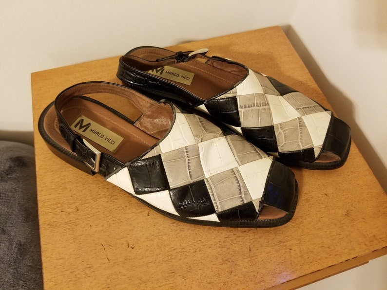 dd514101006 Vintage 100% Leather Size 12 Marco Vicci Checkered Mens Slides