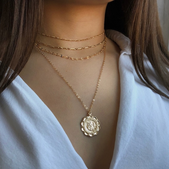 Gift for her Christmas gifts Gold Medallion Necklace Miraculous gold necklace St Christopher 14K GF Gold Coin necklace