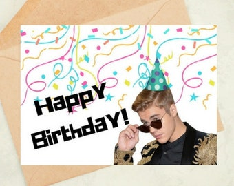 Justin Bieber Funny Birthday Card Downloadable Celebrity Humorous Gift Bday Bff Digital Download