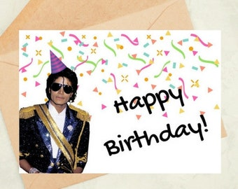 Printable Birthday Card Michael Jackson King Of Pop Happy Gifts DIGITAL DOWNLOAD