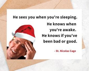 Nicolas Cage Christmas Card Xmas Celebrity Meme Funny Pun Saint Nic Gifts Printable DIGITAL DOWNLOAD