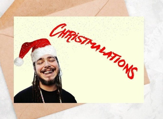 Post Malone Christmas Card Congratulations Celebrity Rap Etsy
